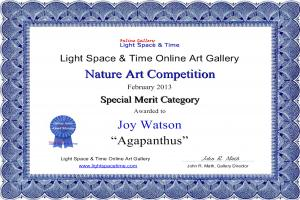 Artist Joy Watson Receives Special Merit And Special Recognition Awards.
